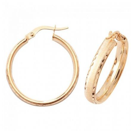 Just Gold Earrings -9Ct Dia Cut Satin Earrings, ER882